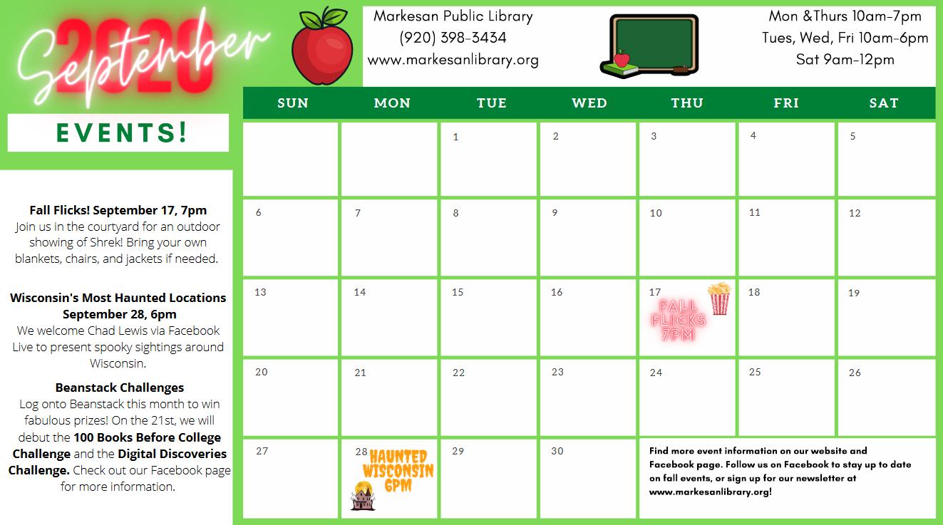 September Calendar of Activities